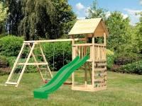 Akubi Spielturm Lotti- Doppelschaukel mit Klettergerüst, Kletterwand und Rutsche in grün