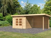 Karibu Woodfeeling Gartenhaus Kandern 6 mit Anbaudach 3,2 Meter inkl. Rückwand