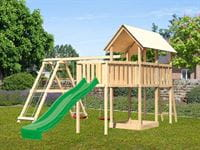 Akubi Spielturm Danny Satteldach + Rutsche grün + Doppelschaukelanbau Klettergerüst + Anbauplattform XL