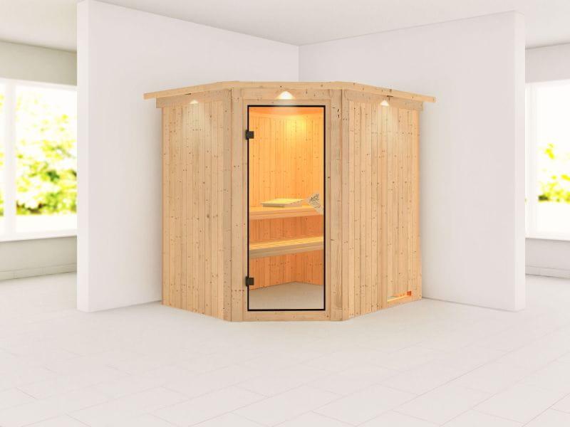 Siirin - Karibu Sauna ohne Ofen - mit Dachkranz -