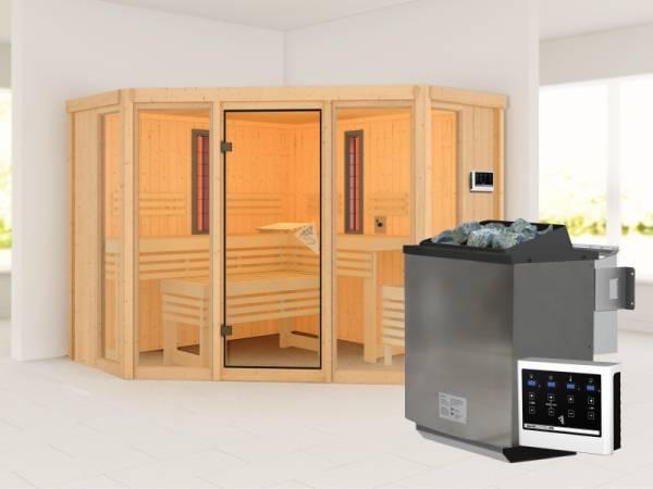 Karibu Multifunktions-Sauna Asta mit 9 kW Bioofen und Infrarotstrahler