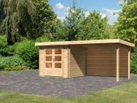 Karibu Woodfeeling Gartenhaus Bastrup 2 mit Anbaudach 3 Meter inkl. Rückwand