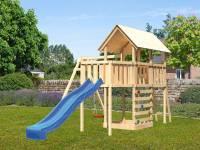 Akubi Spielturm Danny Satteldach + Rutsche blau + Einzelschaukel + Anbauplattform + Kletterwand
