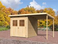 Karibu Gartenhaus Bremen 3 natur mit Anbaudach 1,9 Meter inkl. Fußboden und Dacheindeckung