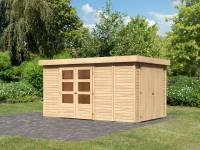 Karibu Woodfeeling Gartenhaus Retola 6 inkl. Anbauschrank