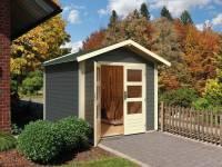 Karibu Woodfeeling Gartenhaus Talkau 4 in terragrau 28 mm