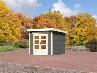 Karibu Aktions Gartenhaus Emden 3 in terragrau mit Fußboden und Dacheindeckung