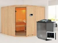 Simara 3 - Karibu Sauna inkl. 9-kW-Bioofen - ohne Fenster -