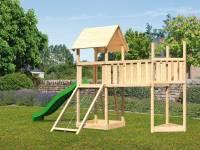 Akubi Spielturm Lotti Satteldach + Schiffsanbau oben + Anbauplattform XL + Netzrampe + Rutsche in grün