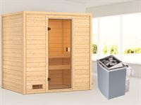 Karibu Sauna Selena mit 4,5 kW Ofen integr. Strg ohne Dachkranz