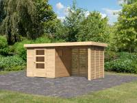Karibu Woodfeeling Gartenhaus Oburg 2 natur mit Anbaudach 2,4 Meter inkl. Lamellenwände