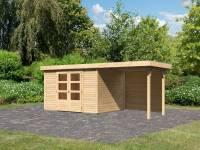 Karibu Woodfeeling Gartenhaus Askola 5 mit Anbaudach 2,4 m, Rückwand