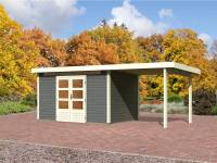 Karibu Aktions Gartenhaus Emden 7 in terragrau mit Fußboden, Dacheindeckung und Anbaudach 2,60 Meter