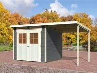 Karibu Gartenhaus Bremen 4 terragrau mit Anbaudach 1,90 Meter und Fußboden
