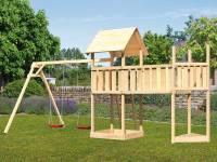 Akubi Spielturm Lotti Satteldach + Schiffsanbau oben + Doppelschaukel + Anbauplattform XL