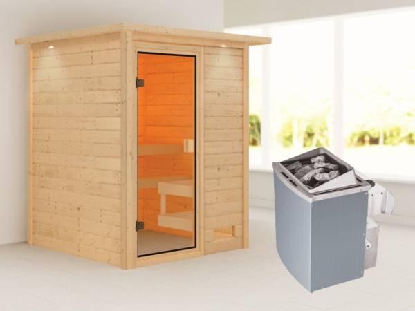 Karibu Sauna Sandra mit 9 kW Ofen integr. Strg und Dachkranz 38 mm