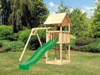 Akubi Spielturm Lotti mit Einzelschaukel und Rutsche grün