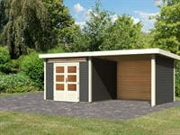 Karibu Woodfeeling Gartenhaus Kandern 6 in terragrau mit Anbaudach 3,2 Meter inkl. Rück- und Seitenwand