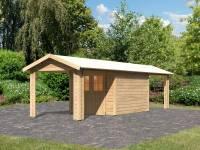 Karibu Gartenhaus Espelo 4 natur mit zwei Dachausbauelementen 2,70 m