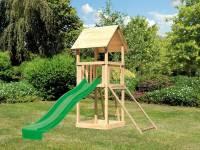 Akubi Spielturm Lotti mit Netzrampe und Rutsche grün