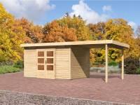 Karibu Aktions Gartenhaus Emden 7 in natur mit Fußboden, Dacheindeckung und Anbaudach 2,60 Meter