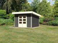 Karibu Gartenhaus Moosburg 3 terragrau mit klassischer Tür