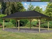 Karibu 4-Eck Pavillon Classic Holm 2 kdi Sparset inkl. Schindeln