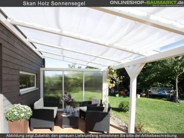 Skan Holz Sonnensegel 4 Stück für Tiefe 400 cm, weiß