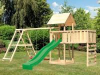 Akubi Spielturm Lotti Satteldach + Rutsche grün + Doppelschaukel Klettergerüst + Anbauplattform XL + Kletterwand
