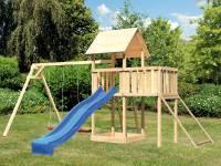 Akubi Spielturm Lotti Satteldach + Rutsche blau + Doppelschaukel + Anbauplattform + Netzrampe