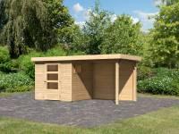Karibu Woodfeeling Gartenhaus Oburg 2 natur mit Anbaudach 2,4 Meter inkl. Rückwand