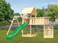 Akubi Spielturm Lotti + Schiffsanbau unten + Anbauplattform XL + Netzrampe + Einzelschaukel + Rutsche grün