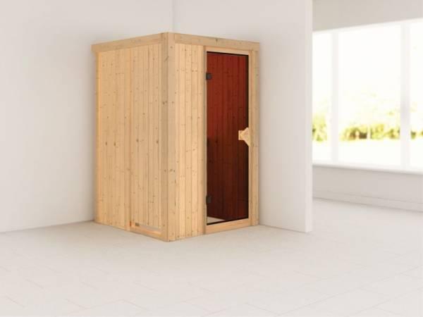 Lenja - Karibu Sauna Plug & Play ohne Ofen - ohne Dachkranz - Moderne Tür