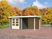 Karibu Aktions Gartenhaus Jever 3 in terragrau mit Anbaudach 2,40 Meter inkl. Rückwand