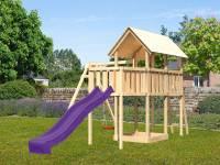 Akubi Spielturm Danny Satteldach + Rutsche violett + Einzelschaukel + Anbauplattform