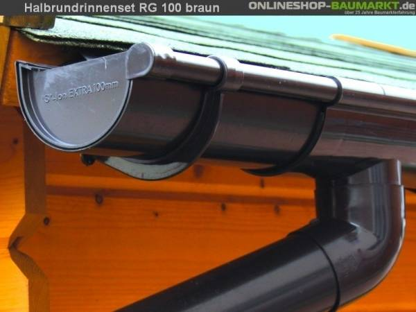 Dachrinnen Set RG 100 braun 500 x 800 cm Walmdach