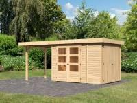 Karibu Woodfeeling Gartenhaus Retola 2 natur mit Anbauschrank und 2,40 Meter Anbaudach