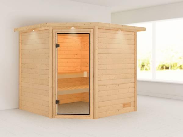 Karibu Woodfeeling Sauna Tilda mit Dachkranz 38 mm