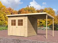 Karibu Gartenhaus Bremen 4 natur mit Anbaudach 1,90 Meter, Dacheindeckung und Fußboden