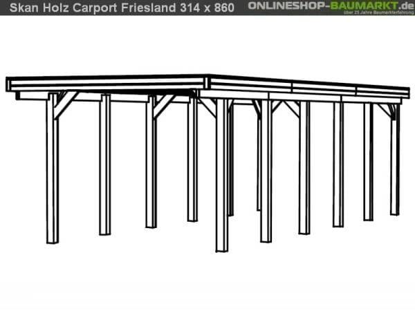Skan Holz Carport Friesland 314 x 860 cm