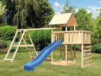 Akubi Spielturm Lotti Satteldach + Rutsche blau + Doppelschaukel Klettergerüst + Anbauplattform + Kletterwand