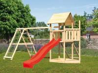 Akubi Spielturm Lotti Satteldach + Schiffsanbau oben + Doppelschaukel mit Klettergerüst + Netzrampe + Rutsche in rot