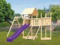 Akubi Spielturm Lotti Satteldach + Schiffsanbau oben + Anbauplattform + Einzelschaukel + Netzrampe + Rutsche in violett