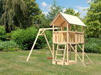 Akubi Spielturm Danny Satteldach + Einzelschaukel + Netzrampe