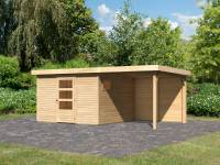 Karibu Woodfeeling Gartenhaus Oburg 6 natur mit Anbaudach 2,4 Meter inkl. Rückwand