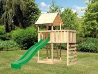Akubi Spielturm Lotti natur mit Anbauplattform, Kletterwand und Rutsche grün