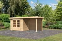 Karibu Woodfeeling Gartenhaus Askola 3 mit Anbaudach 2,4 m, Rückwand