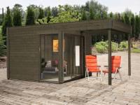 Wolff Finnhaus Pultdachhaus Studio 44-B mit Lounge Alu-Anthrazit felsgrau