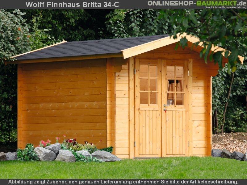 wolff finnhaus satteldach gartenhaus britta 34 c mit hoher seitenwand und eingangst re. Black Bedroom Furniture Sets. Home Design Ideas