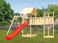 Akubi Spielturm Lotti Satteldach + Schiffsanbau oben + Einzelschaukel + Anbauplattform XL + Netzrampe + Rutsche in rot